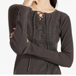 Lucky Brand embroidered thermal with tie detail